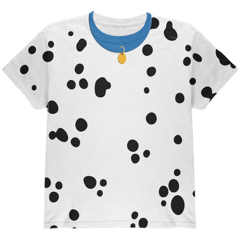 Halloween Dalmatian Costume Blue Collar All Over Youth T Shirt