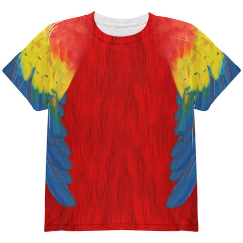 Halloween Scarlet Macaw Parrot Feathers Costume All Over Youth T Shirt