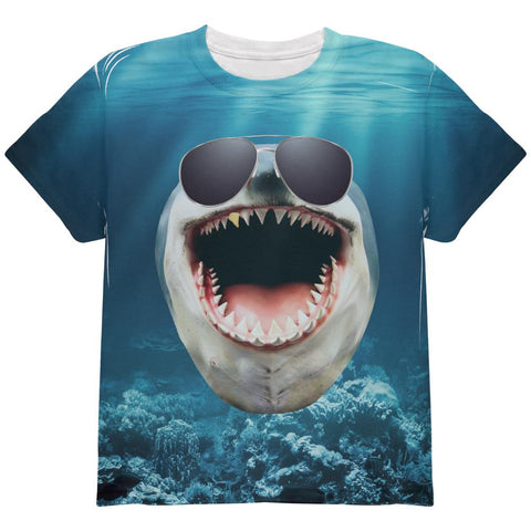 Big Goofy Shark In Sunglasses All Over Youth T Shirt