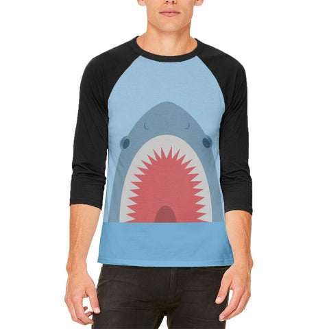 Cute Fun Shark Attack Mens Raglan T Shirt