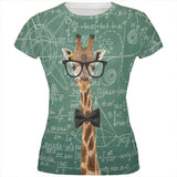 Giraffe Geek Math Formulas All Over Juniors T Shirt
