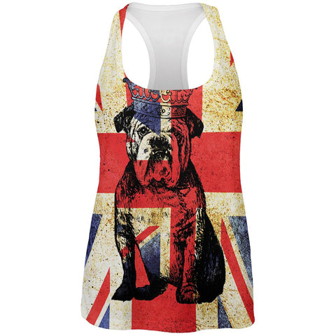 English British Bulldog Crown Grunge Flag All Over Womens Work Out Tank Top