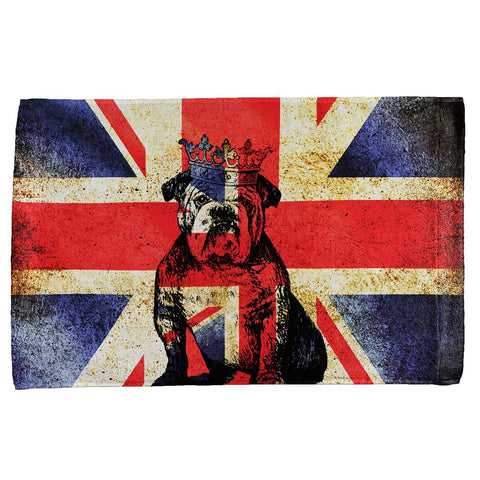 English British Bulldog Crown Grunge Flag All Over Hand Towel