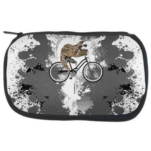Bicycle Sloth Funny Grunge Splatter Makeup Bag