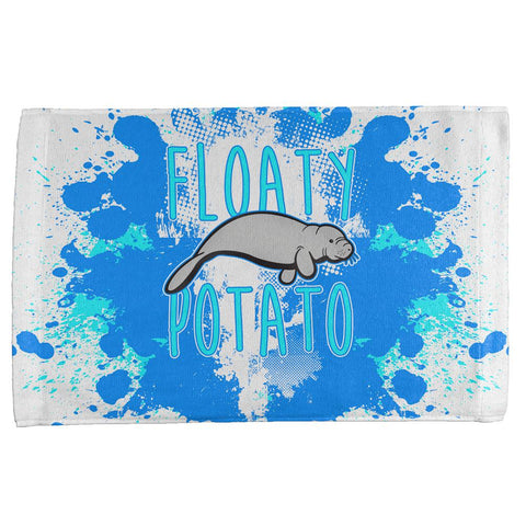 Floaty Potato Manatee Funny Grunge Splatter All Over Hand Towel
