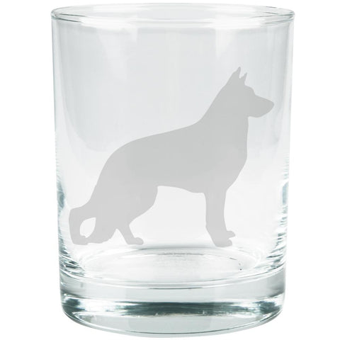 German Shepherd Guard Dog Silhouette Etched Glass Tumbler