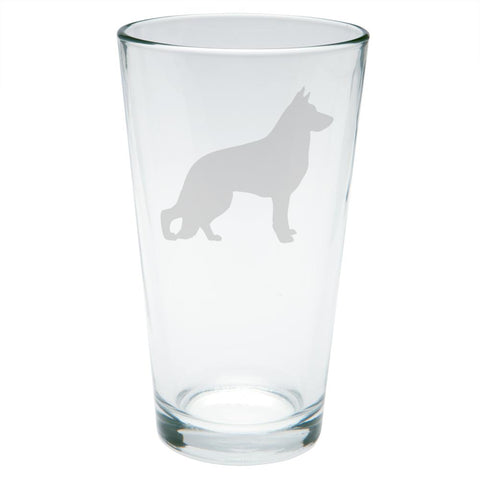 German Shepherd Guard Dog Silhouette Etched Pint Glass