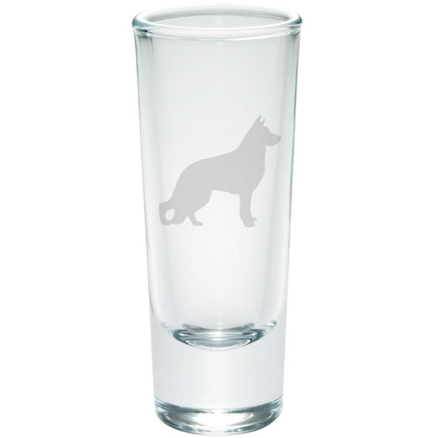 German Shepherd Guard Dog Silhouette Etched Shot Glass Shooter