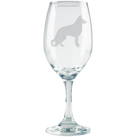 German Shepherd Guard Dog Silhouette Etched White Wine Glass