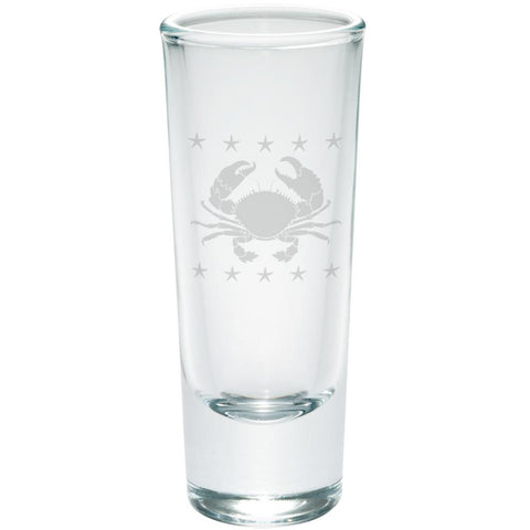 Crab and Starfish Etched Shot Glass Shooter