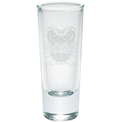 Trippy Owl Etched Shot Glass Shooter