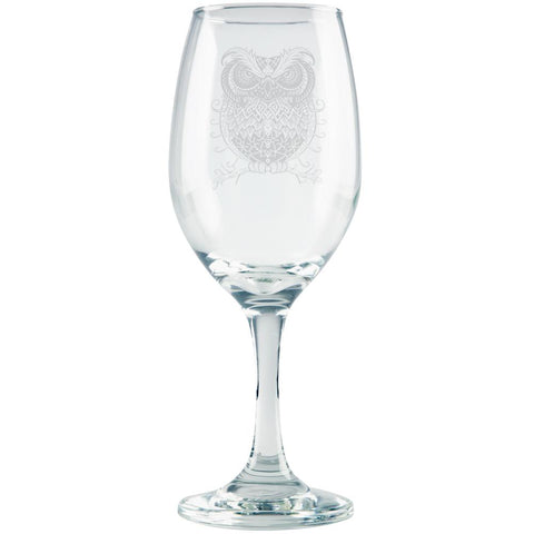Trippy Owl Etched White Wine Glass