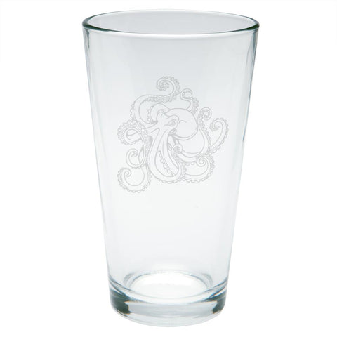 Octopus Tattoo Etched Pint Glass
