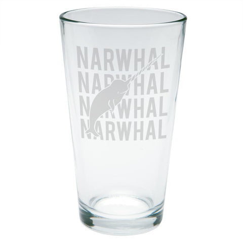 Narwhal Stack Repeat Etched Pint Glass
