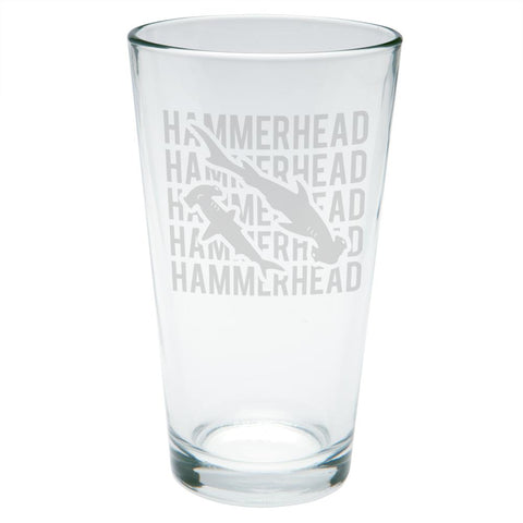 Hammerhead Shark Stack Repeat Etched Pint Glass