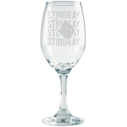 Stingray Stack Repeat Etched White Wine Glass