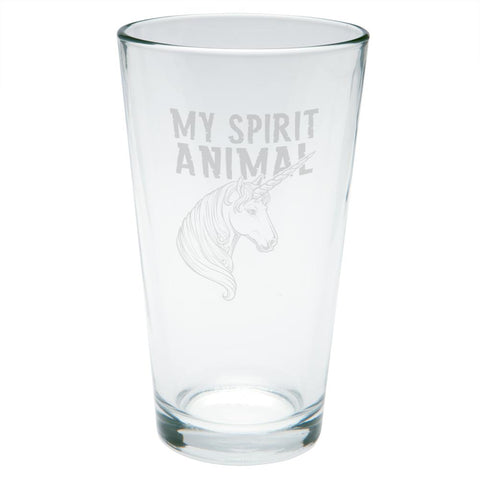 Unicorn Is My Spirit Animal Etched Pint Glass