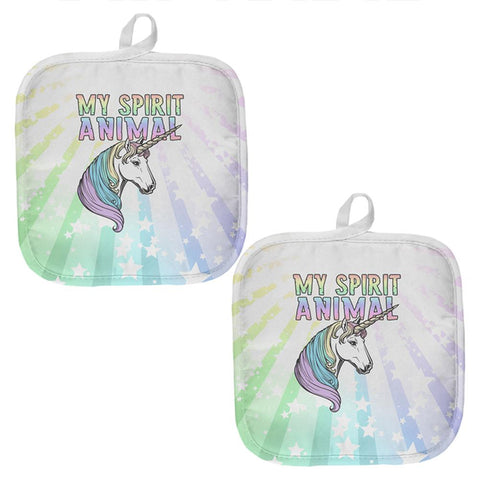 My Spirit Animal Unicorn Pastel Rainbow All Over Pot Holder (Set of 2)