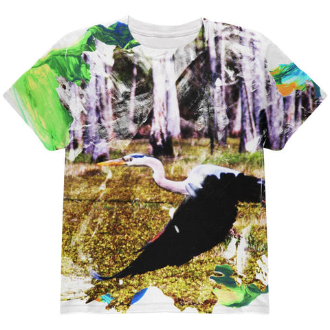 Great Blue Heron Abstract Paint All Over Youth T Shirt