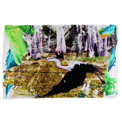 Great Blue Heron Abstract Paint All Over Hand Towel