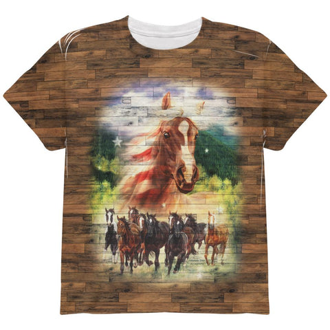 4th of July American Flag Wild Horse Mustang Patriot All Over Youth T Shirt