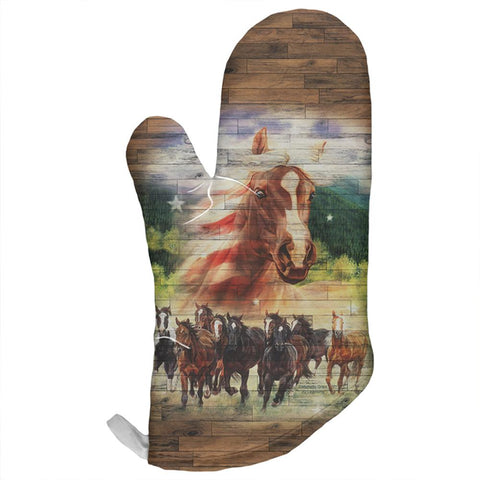 4th of July American Flag Wild Horse Mustang Patriot All Over Oven Mitt