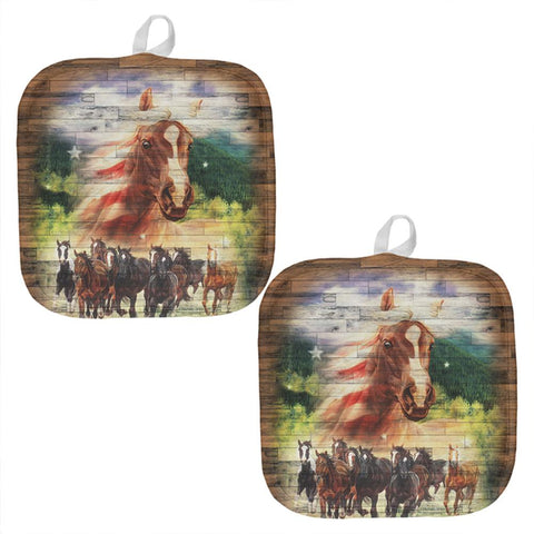 4th of July American Flag Mustang Patriot All Over Pot Holder (Set of 2)