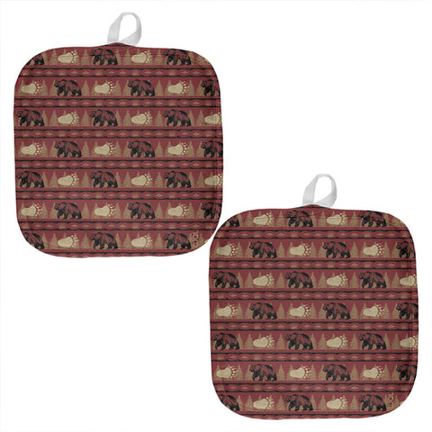 Grizzly Bear Pattern Red All Over Pot Holder (Set of 2)