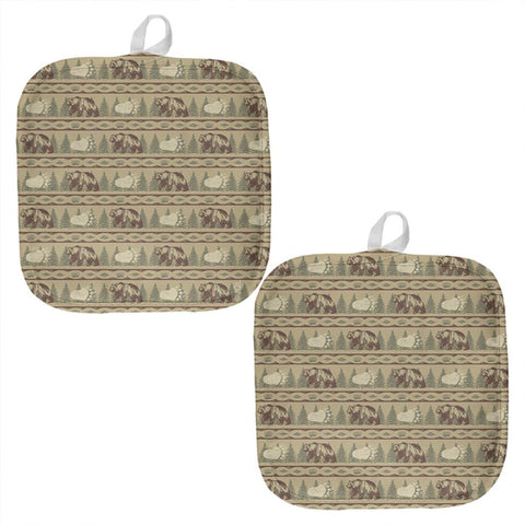 Grizzly Bear Pattern Tan All Over Pot Holder (Set of 2)