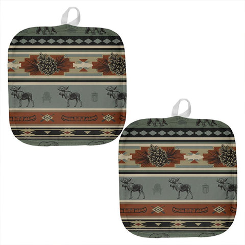 Adirondack Bear Moose Pattern All Over Pot Holder (Set of 2)