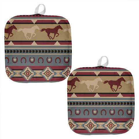 Southwestern Wild Horse Mustang Pattern All Over Pot Holder (Set of 2)
