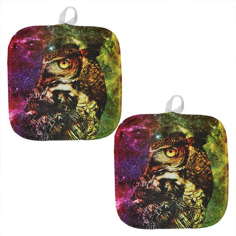 Zen Galaxy Owl Of Wisdom All Over Pot Holder (Set of 2)