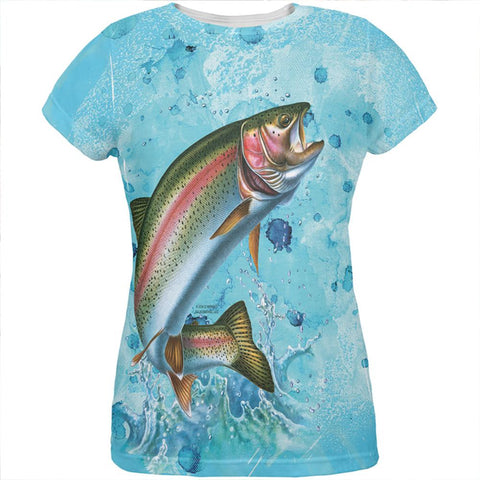 Rainbow Trout Jumping Splash All Over Womens T Shirt