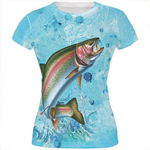 Rainbow Trout Jumping Splash All Over Juniors T Shirt