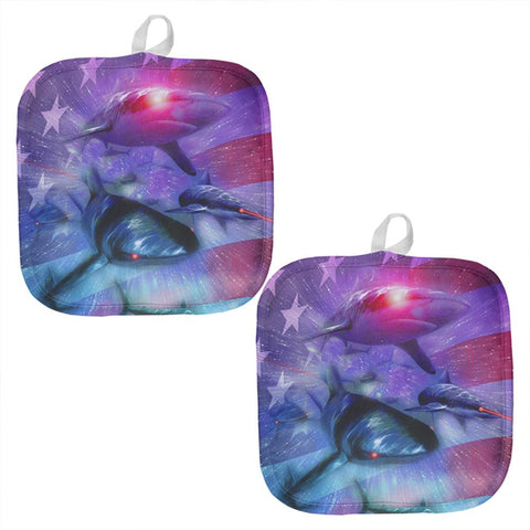 July 4th Patriotic American Galaxy Laser Sharks All Over Pot Holder (Set of 2)