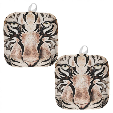 Tiger Eye Ghost And The Darkness All Over Pot Holder (Set of 2)