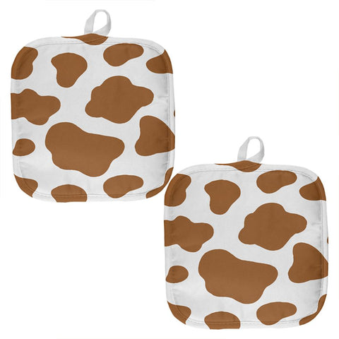 Brown Spot Cow All Over Pot Holder (Set of 2)