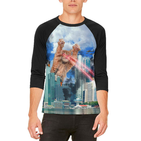 Giant Cat Laser Rampage and Destroy Mens Raglan T Shirt