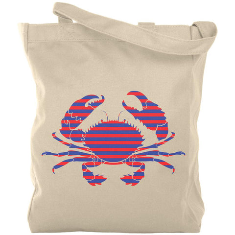 Summer Sun Striped Crab Nautical Canvas Tote Bag