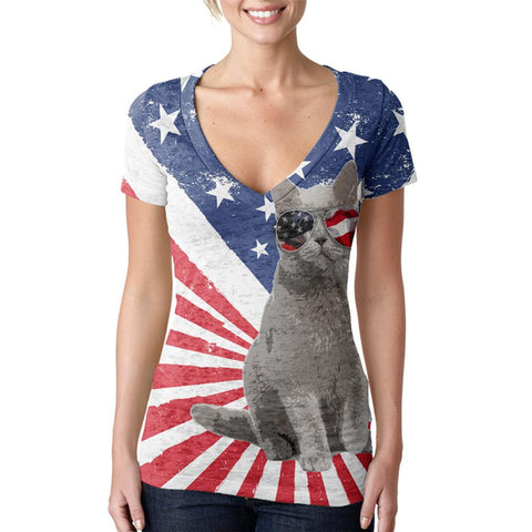 4th Of July Meowica America Patriot Cat Juniors Burnout V-Neck T-Shirt