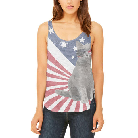 4th Of July Meowica America Patriot Cat Juniors Flowy Side Slit Tank Top