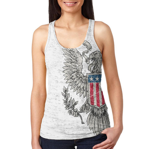 4th Of July Born Free Vintage American Eagle Juniors Burnout Racerback Tank Top