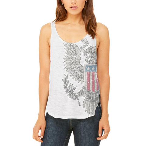 4th Of July Born Free Vintage American Eagle Juniors Flowy Side Slit Tank Top