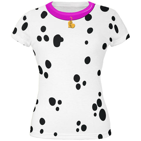 Valentine's Day Dog Dalmatian Costume Pink Collar Be Mine All Over Juniors T Shirt