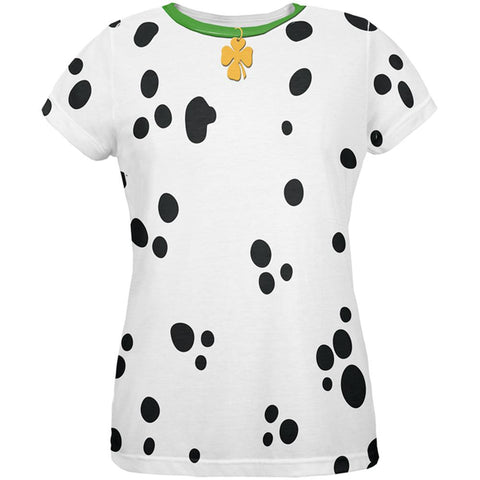St Patrick's Day Dog Dalmatian Costume Green Collar Shamrock All Over Womens T Shirt
