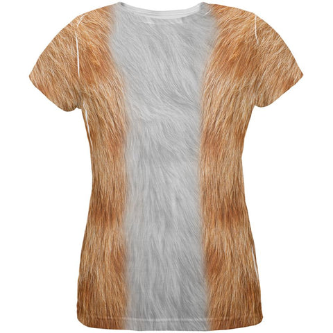 Halloween Orange Cat Costume All Over Womens T Shirt