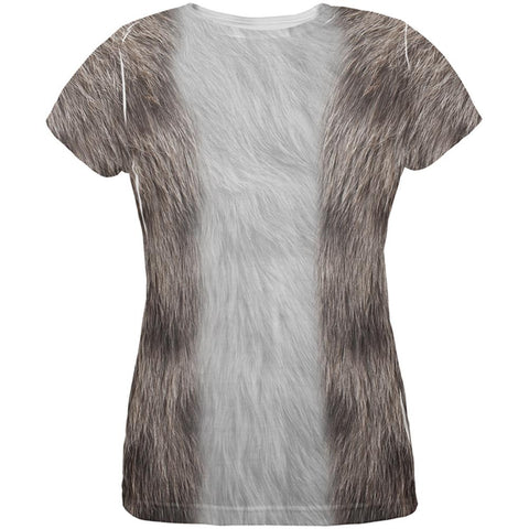 Halloween Grey Cat Costume All Over Womens T Shirt