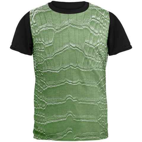 Halloween Alligator Costume All Over Mens Black Back T Shirt