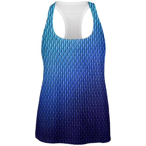 Halloween Blue Ice Dragon Scales Costume All Over Womens Work Out Tank Top