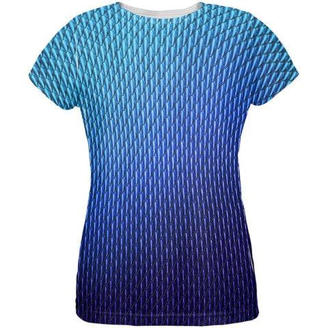 Halloween Blue Ice Dragon Scales Costume All Over Womens T Shirt